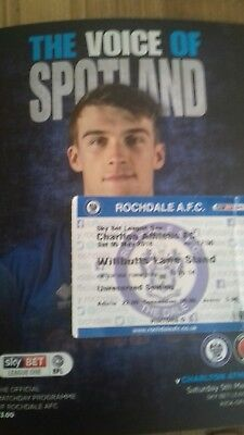 ROCHDALE v CHARLTON ATHLETIC 2017-2018 SOLD OUT + MATCH TICKET
