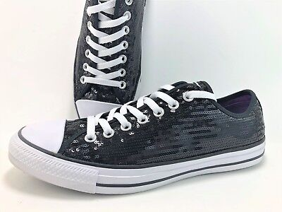 Converse Women's Size 11 Black Sequin Low Top Athletic Sneakers 135079F