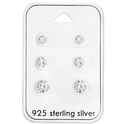 925 Sterling Silver Round Clear Earrings Studs Set of Three or Single Pair