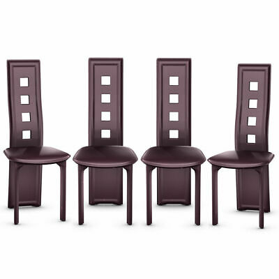 Set of 4 Dining Chairs Steel Frame High Back Armless Home Furniture Brown New