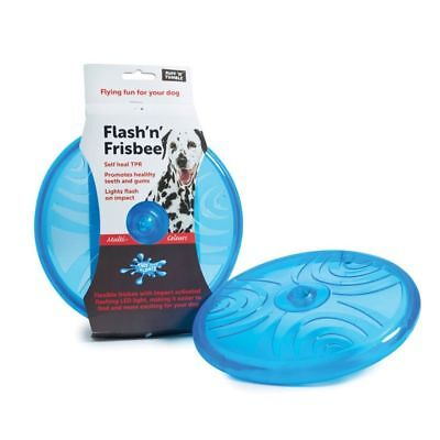 Flash n Frisbee Flashing Dog Toy Multi Coloured LED's In Self Heal TPR