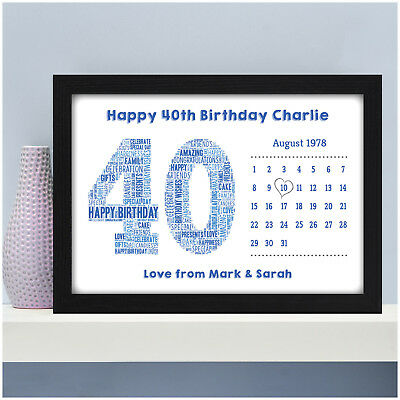 Personalised 40th Birthday Gifts For Men Him Dad Husband Son Print