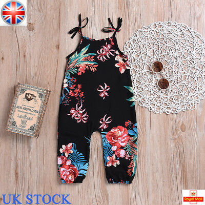 UK Toddler Baby Girls Floral Strap Cotton Jumpsuit Romper Summer Outfits Clothes