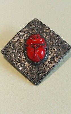 Beautiful Old Antique Egyptian Revival Red Scarab Beetle Brooch Pin Sun Design