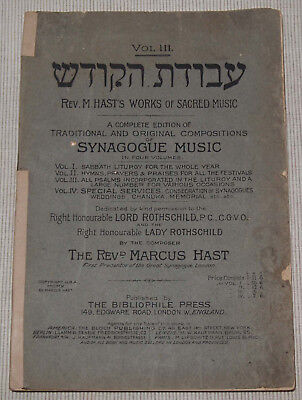M.Hast Traditional and Original Compositions of SYNAGOGUE MUSIK Vol. III 1910