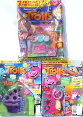3 x TROLLS MAGAZINES WITH GIFTS ~ NEW ~