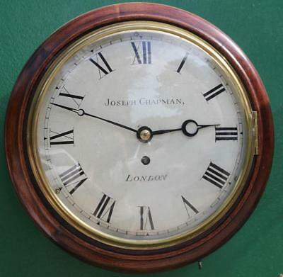 Early English Joseph Chapman London 10 Inch Convex 8 Day Fusee Dial Clock