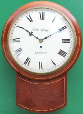 George Yonge London Early English Mahogany 8 Day Fusee Convex Drop Dial Clock