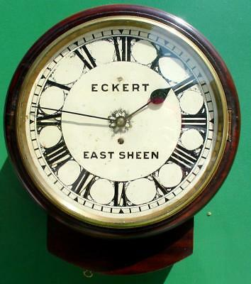 "ANTIQUE MAHOGANY 8 DAY FUSEE 12"" DROPDIAL DIAL CLOCK ECKERT EAST SHEEN 1880c"