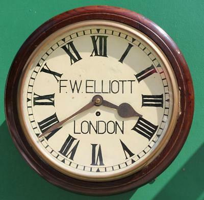 English Mahogany 8 Day 14 Inch Fusee Dial Clock Signed Fw Elliot London