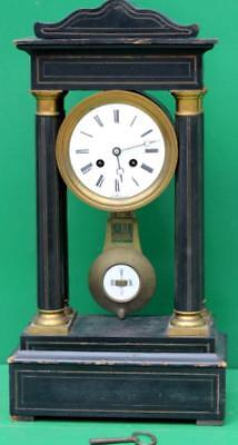 Early French Empire Portoco Ebonized Case 8 Day Mantle Clock