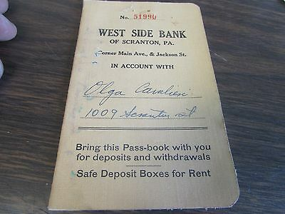 Vintage - West Side Bank  - Savings Book - Scranton Pa 1946