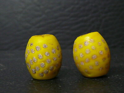 (eLB50) Tibet:  2 OLD  decorated glass beads
