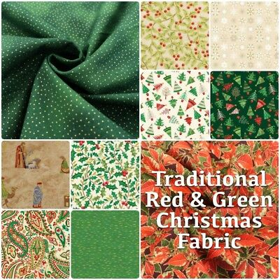 Season's Greetings Christmas Green + Red Traditional Cotton Patchwork Fabric