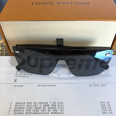 030b5b055c SUPREME x LOUIS VUITTON CITY MASK Sunglasses Black Rare Box Logo Original  100%