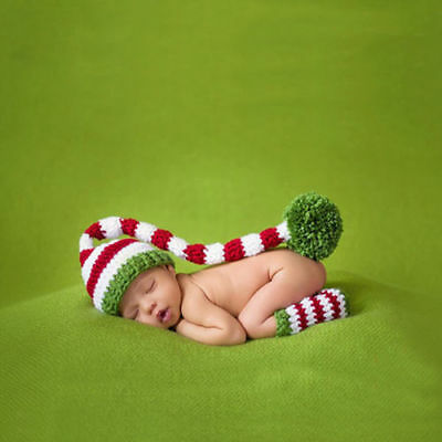 Baby Unisex Newborn Christmas Hat Set Outfit Costume Photography Photo Props