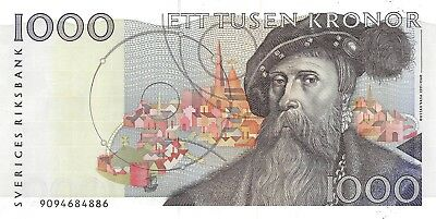 Sweden 1000 kronor 1990  P 60a  Circulated Banknote