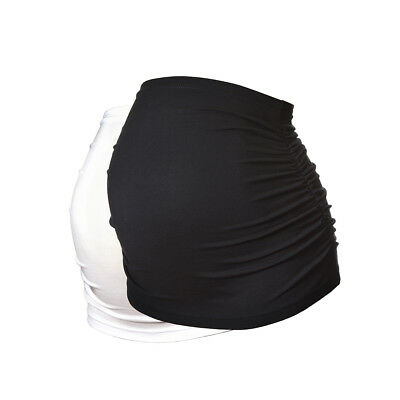 Ruched Maternity Belly Band/Bump Band by Harry Duley. 2 Pack. Black & White.