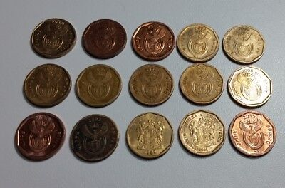 South Africa 15 x 10c coins all different, separate catalogue numbers