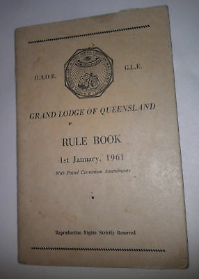 RAOB Order of Buffaloes 1961 Rule Book Grand Lodge Queensland QLD - Freemasons
