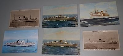 6 old nautical postcards shipping lines incl mail steamers ships Portugal & SAF