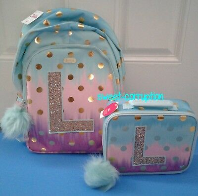 62550efa3e16 Justice L Initial OMBRE FOIL DOT Backpack Letter   Lunch Box Tote Girls SET