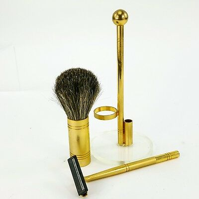 Vintage Brass Shaving Razor & Brush w/ Acrylic Stand Italy Men's Grooming Set