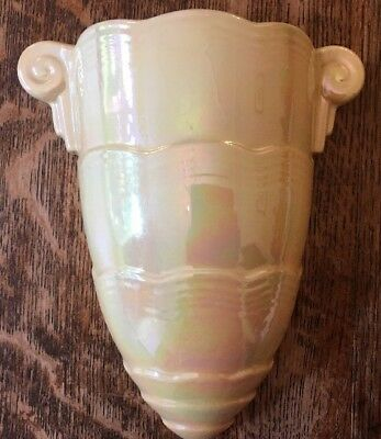 Vintage Crown Devon Wall Pocket Vase - Lustreware Yellow- Large