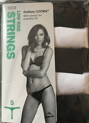 M&s Ladies 5 Pack Size 8  Cotton Thong G String Knickers Panties Pants