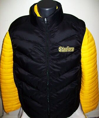 b317edf6 PITTSBURGH STEELERS 2 Piece Nylon Systems Jacket w Vest Combo BLACK/YELLOW  Large