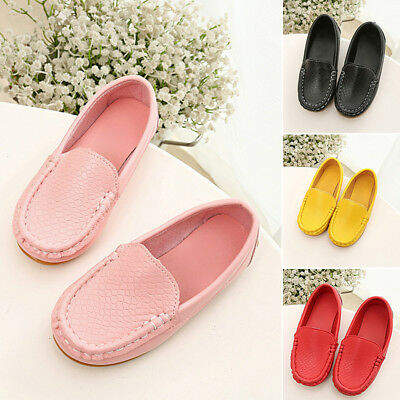 Kids Boy Girls  Oxford Flats Solid PU Boat Shoes Toddler Slip On Soft Loafers