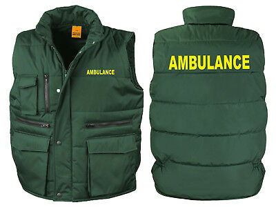 Ambulance Bodywarmer Gilet Bottle Green Printed Medic First Aid Jacket Coat