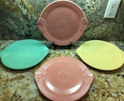 """4· Vintage FIESTA WARE 12"""" Serving Tray · Sea Mist Green Pink And Yellow"""