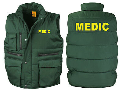 Medic Bodywarmer Gilet Bottle Green Printed Ambulance First Aid Jacket Coat