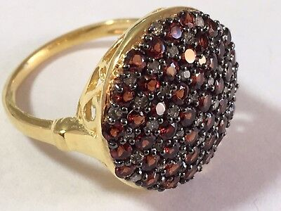 Garnet Diamond Cluster Silver Gold Plated Ring