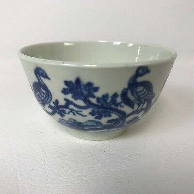 "Worcester First Period Dr Wall 3"" Porcelain Bowl With Bird Decoration & Crescent"