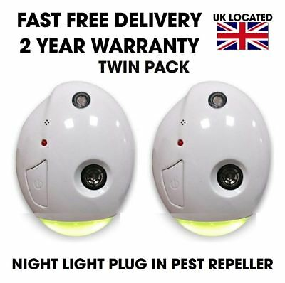 Genuine 2X Terratek Ultrasonic Pest Repeller Plug In Spider Rat Mouse Insect
