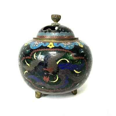 Fine Antique Meiji Japanese Cloisonne Tri Footed Censer