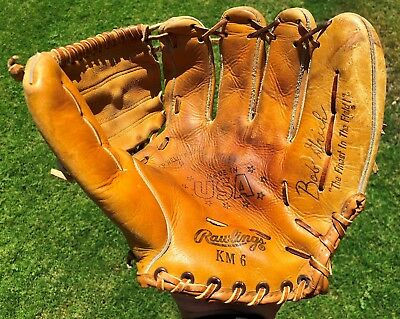 Vintage Rawlings Bob Grich  KM6 Baseball Glove Left Handed-RHT-USA Made