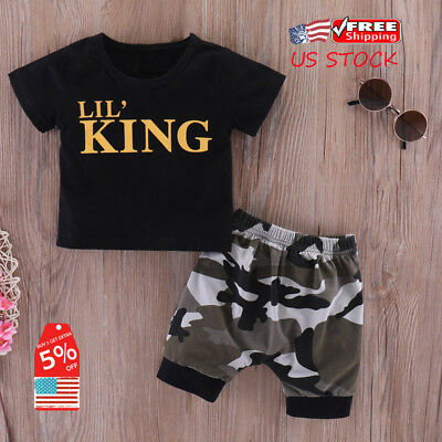 40b889a9449e8 Infant Baby Boys Kids Summer Clothes LIL' KING T-shirt+Camo Shorts Outfits