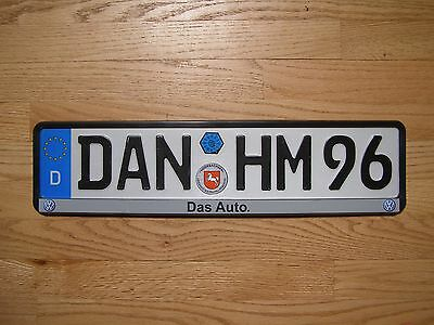 German Germany license plate VW Volkswagen with sticker and frame USA Seller