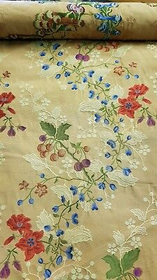 Travers Stripe Floral Jacquard  Cotton Upholstery Fabric Bty