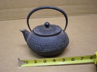 Antique Cast Iron Japanese Teapot Ornate With Strainer Screen Vintage Kettle