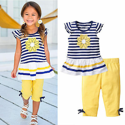 2PCS Toddler Kids Girls Floral Outfits T-shirt Tops + Pants Summer Clothes Set