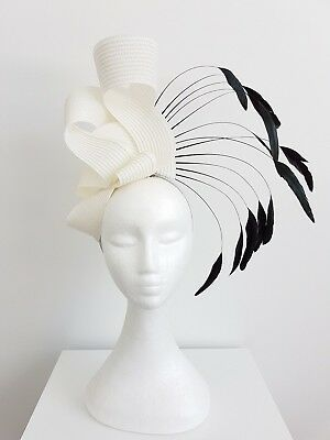 Miss Carnival womens fashion feather headband fascinator in off white /Black