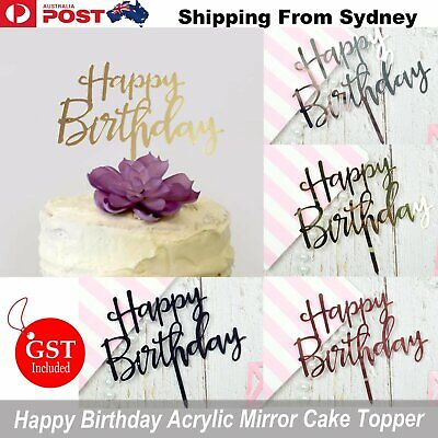 Happy Birthday Cake Topper Glod Acrylic Mirror Party Parties Event Decorations D