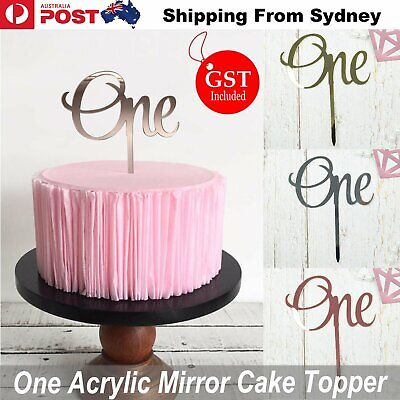 One Cake Topper Silver Rose Glod Acrylic Mirror Party Parties Event Decorations