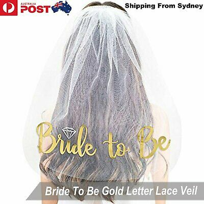 Bride to Be Veil Two-tier Gold Embroidered Bridal Shower Hens Night Party Bridal