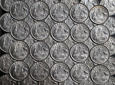 1 x 1962 Australian Sixpence, 50% Silver in Average Circulated Condition.