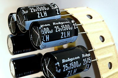 4 pieces, Electrolytic Capacitor, Rubycon (JAPAN) ZLH, 1500uF, 25v,105°C-ref:195